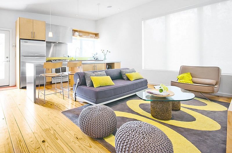 Soothing Modern Living Room In Yellow And Gray Part 48