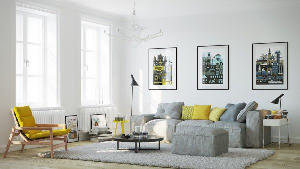 scandinavian-living-room-furniture-ideas-gray-sofa-low-coffee-table-yellow-side-chair